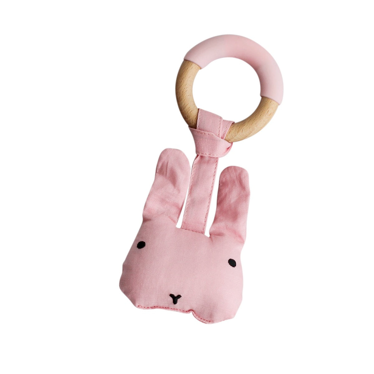 Wood Plush Rattle Teether Toy-Pink Rabbit