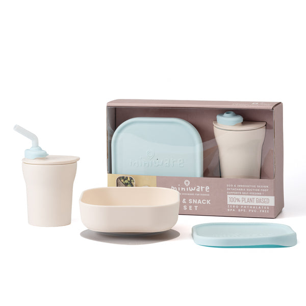 Sip and Snack Suction Bowl with Sippy Cup Feeding Set Vanilla and Aqua