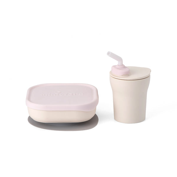 Sip and Snack Suction Bowl with Sippy Cup Feeding Set  Vanilla and Cotton Candy