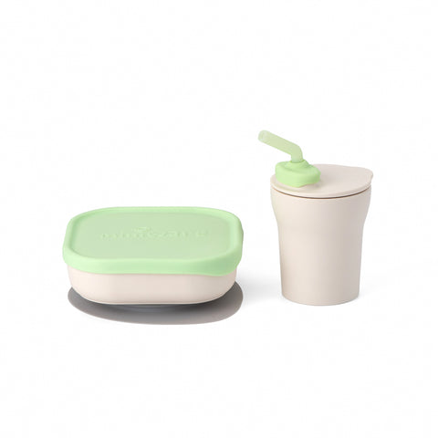Sip and Snack  Suction Bowl with Sippy Cup Feeding Set Vanilla and Key Lime