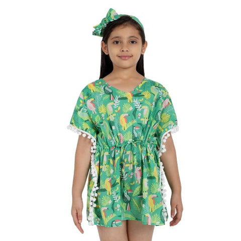 Rainforest Print Pure-cotton Cover-up