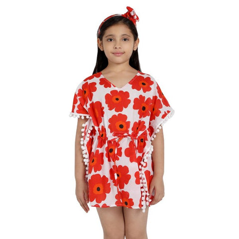 Red Florals Print Pure-cotton Cover-up