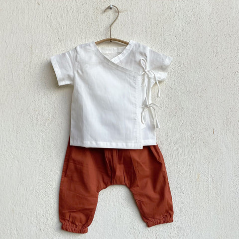 Organic Cotton White Angarakha and Red Pyjama Pants Set