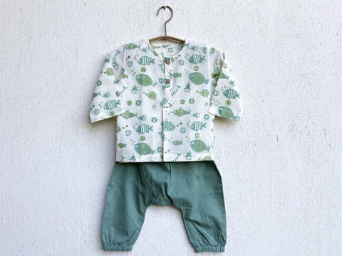 Organic Cotton Koi Mint Kurta and Pyjama Pants Set