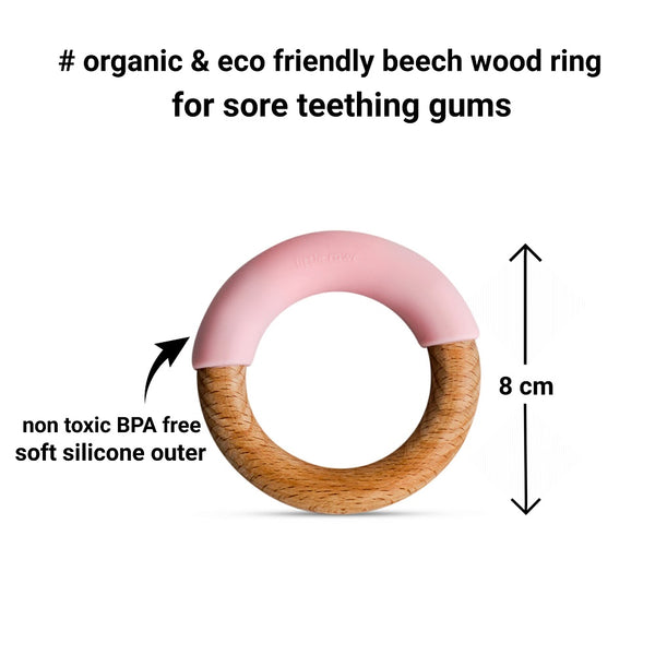 Wood + Silicone Simple Ring - Pink