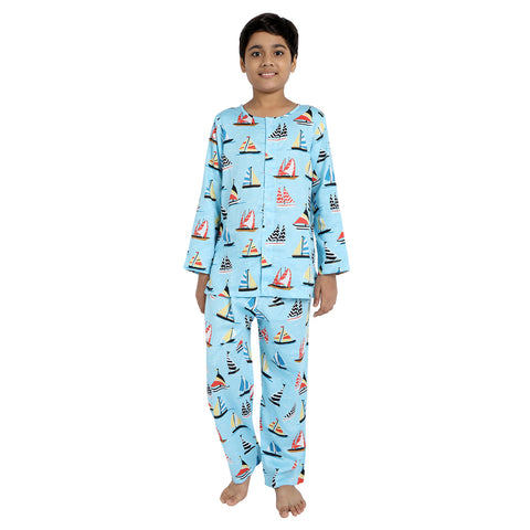 Sailboat Print Pure-Cotton Nightsuit
