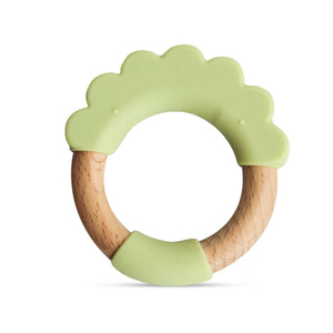 Wood + Silicone Teether Ring- Green Lion