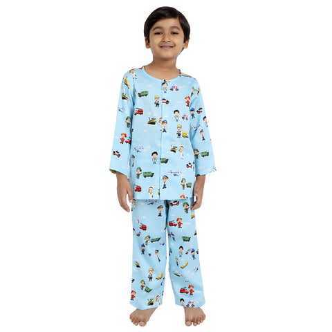 Young Heroes Print Pure-Cotton Nightsuit