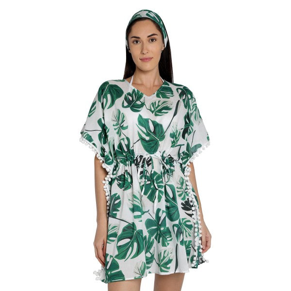 Big Leaf Print Pure-cotton Cover-up