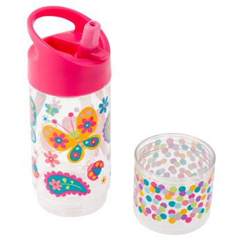 Flip Top Bottle with Snack Container - Butterfly