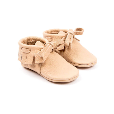 Laced Moccasins In Nude by Amy & Ivor - Junior Edition