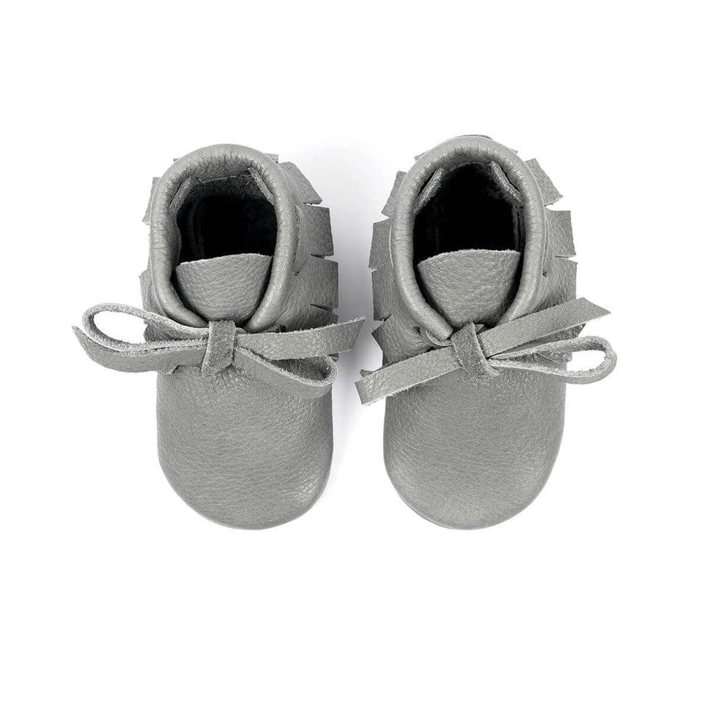 Laced Moccasins In Slate by Amy & Ivor - Junior Edition
