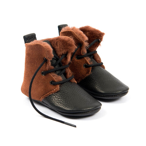 Shearling High Tops In Burnt Sienna by Amy & Ivor - Junior Edition