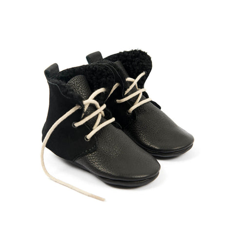 Shearling High Tops In Black by Amy & Ivor