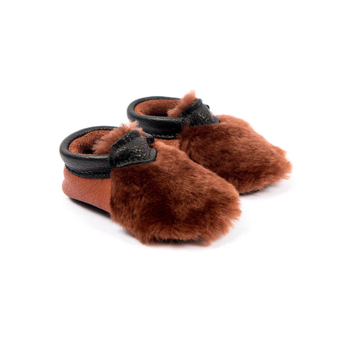 Yeti Moccasins In Burnt Sienna by Amy & Ivor