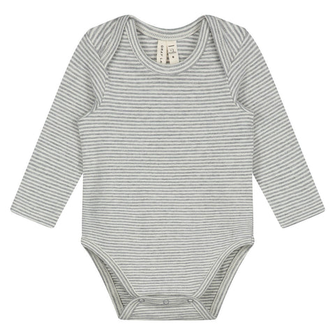 Striped Baby Long Sleeve Bodysuit in Grey Melange by Gray Label