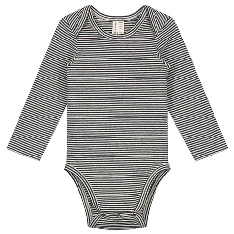 Striped Baby Long Sleeve Bodysuit in Nearly Black by Gray Label