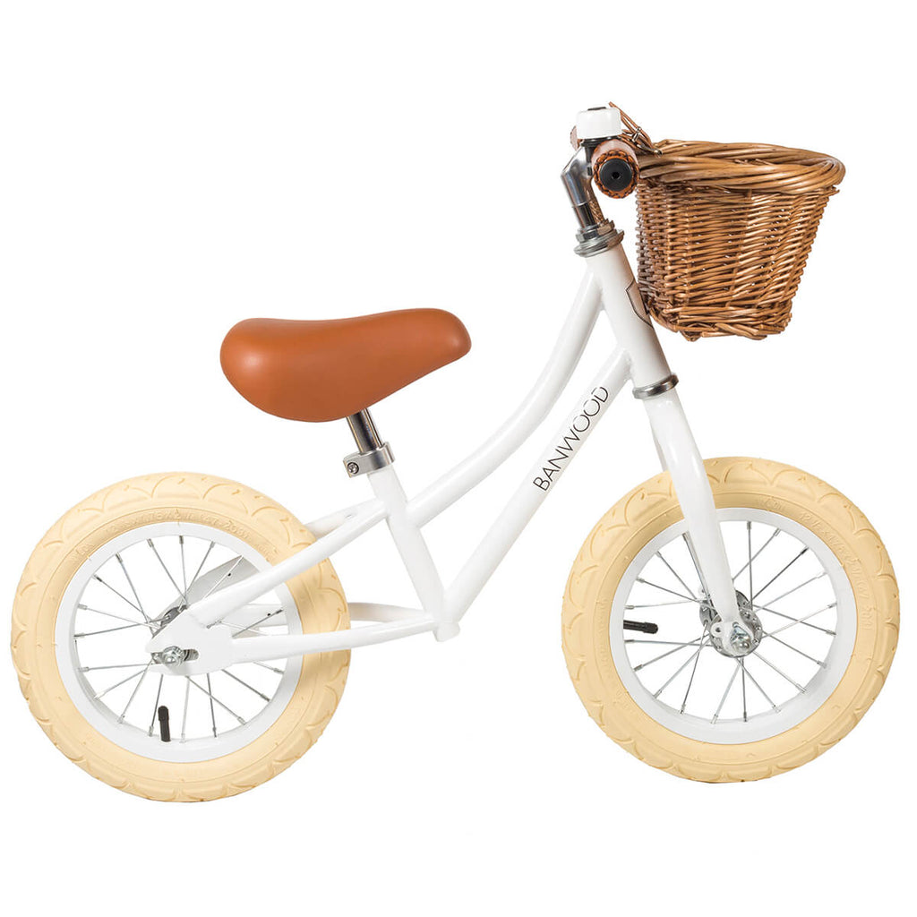 First Go Balance Bike in White by Banwood - Junior Edition