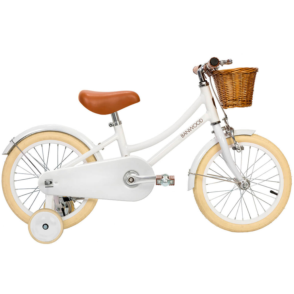 Classic Pedal Bike in White by Banwood - Junior Edition