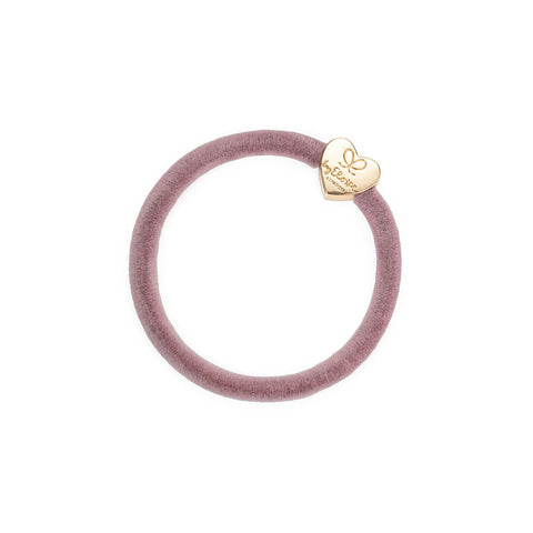 Gold Heart Velvet Hair Band in Champagne Pink by byEloise