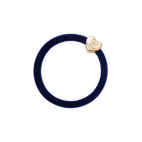Gold Heart Velvet Hair Band in Navy Blue by byEloise