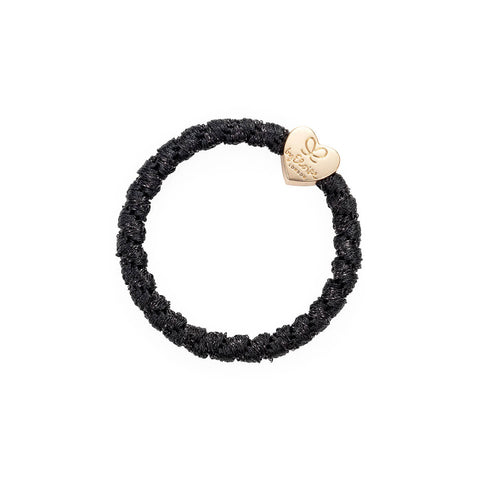 Gold Heart Hair Band in Woven Black Shimmer by byEloise