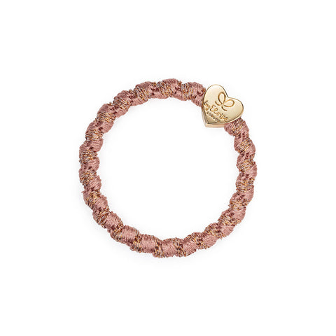 Gold Heart Hair Band in Woven Rosé Shimmer by byEloise