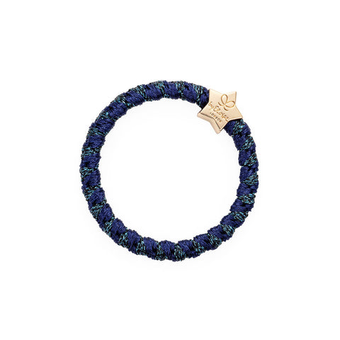 Gold Star Hair Band in Woven Navy Shimmer by byEloise