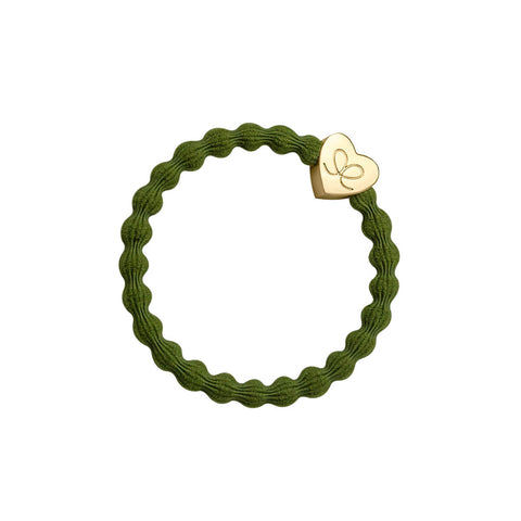 Gold Heart Hair Band in Olive Green by byEloise