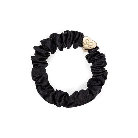 Gold Heart Silk Scrunchie in Black by byEloise