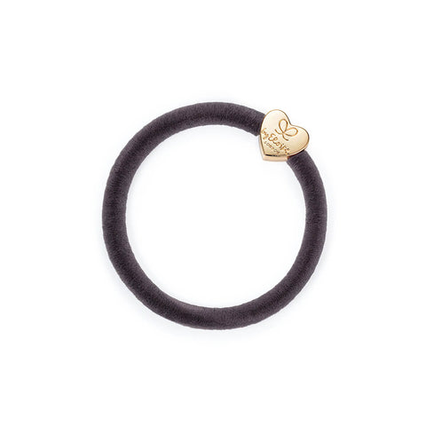 Gold Heart Velvet Hair Band in French Grey by byEloise