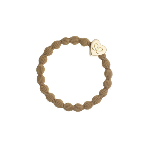 Gold Heart Hair Band in Camel by byEloise - Junior Edition