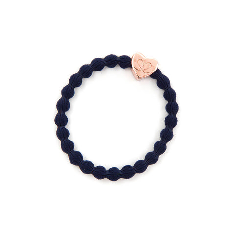 Rose Gold Heart Hair Band in Navy by byEloise - Junior Edition