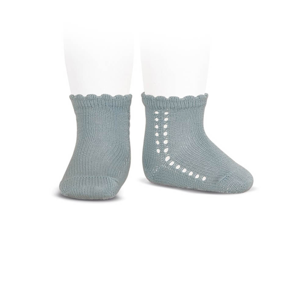Side Openwork Cotton Ankle Socks in Dry Green by Cóndor - Junior Edition