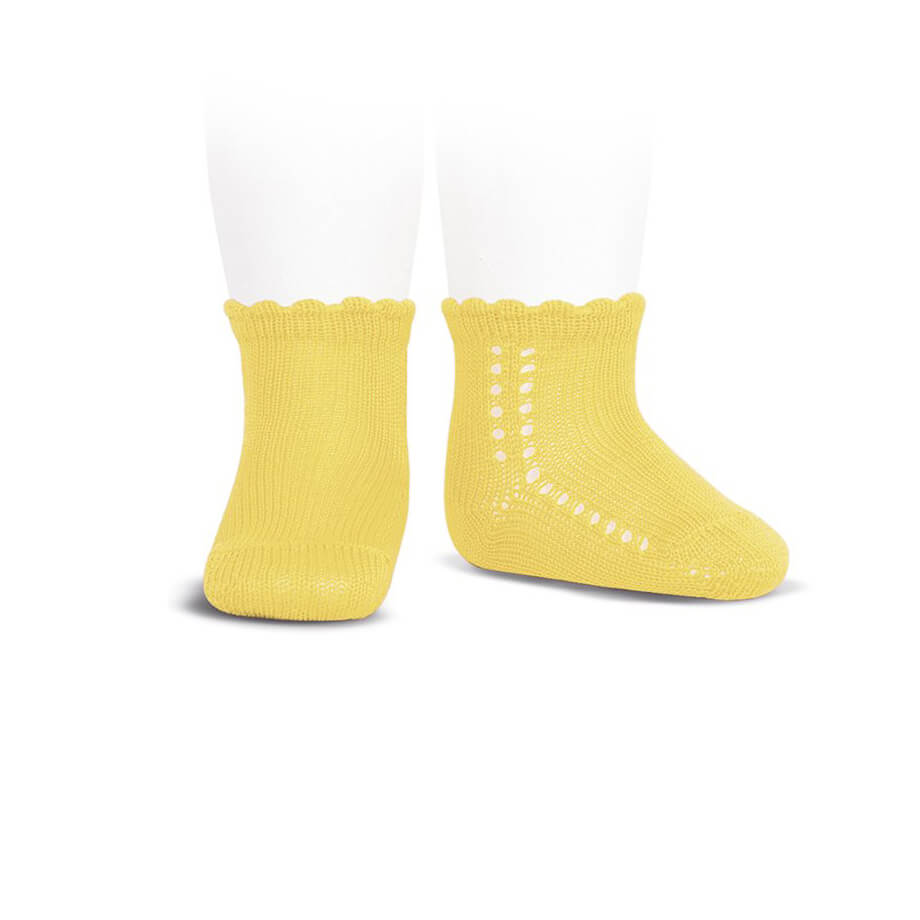 Side Openwork Cotton Ankle Socks in Limoncello by Cóndor - Junior Edition
