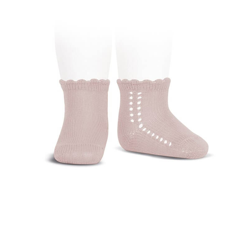 Side Openwork Cotton Ankle Socks in Old Rose by Cóndor - Junior Edition