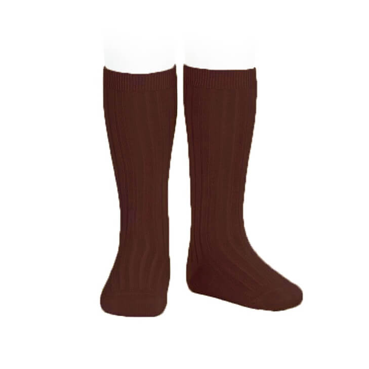 Wide Ribbed Cotton Knee Socks in Caldera by Cóndor - Junior Edition