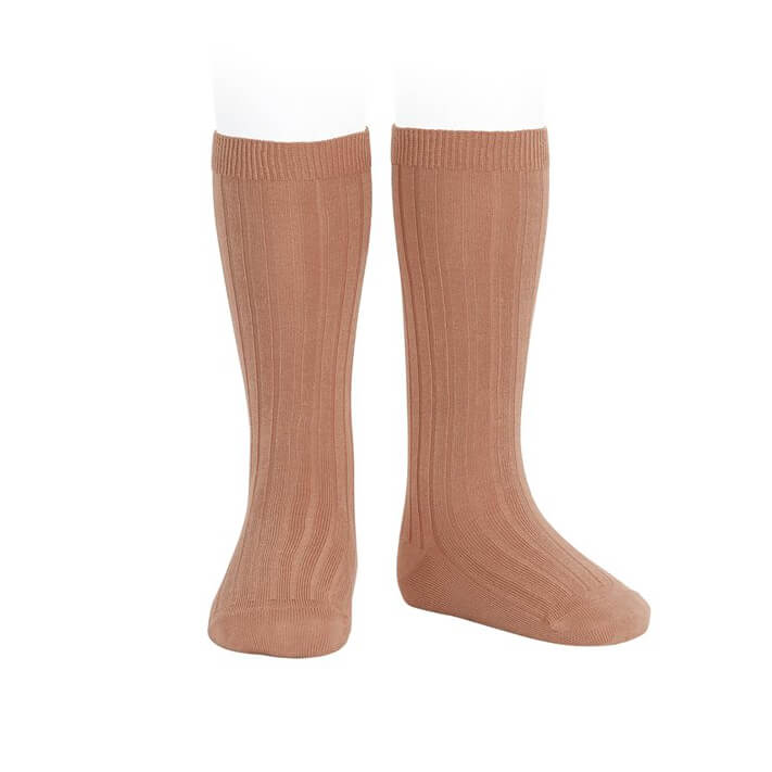 Wide Ribbed Cotton Knee Socks in Clay by Cóndor - Junior Edition