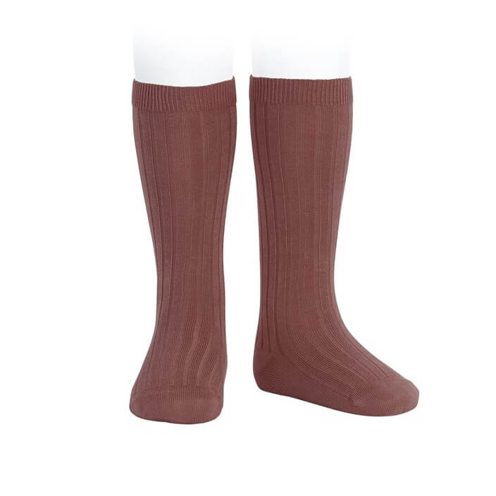 Wide Ribbed Cotton Knee Socks in Marsala by Cóndor - Junior Edition