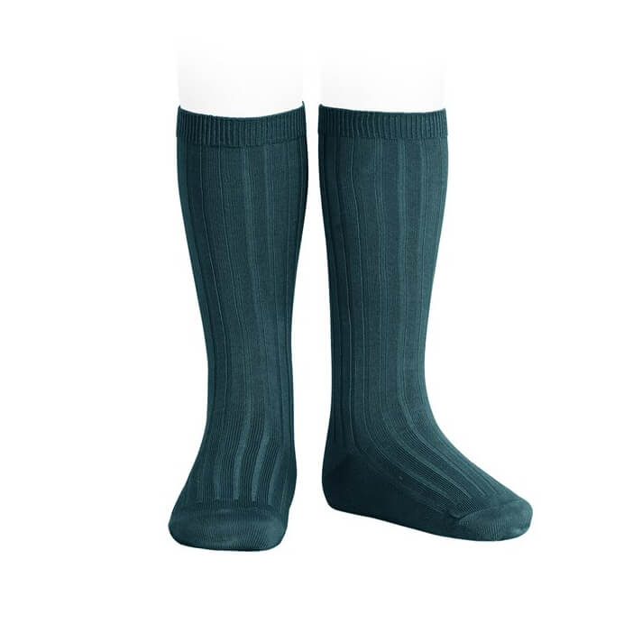 Wide Ribbed Cotton Knee Socks in Petrol by Cóndor - Junior Edition