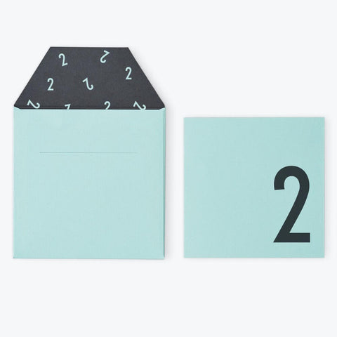 Arne Jacobsen Numbers Birthday Card in Turquoise by Design Letters