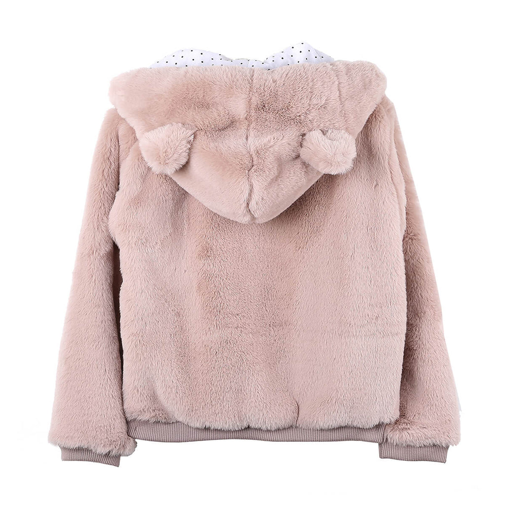 Faux Fur Baby Jacket in Rose by Emile Et Ida - Junior Edition