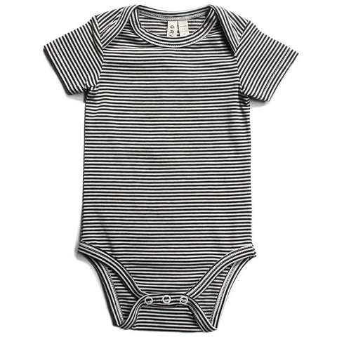 Striped Baby Bodysuit in Nearly Black by Gray Label - Junior Edition
