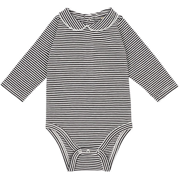 Striped Baby Bodysuit with Collar in Nearly Black by Gray Label - Junior Edition