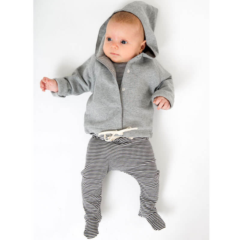 Baby Hooded Cardigan in Grey Melange by Gray Label - Junior Edition