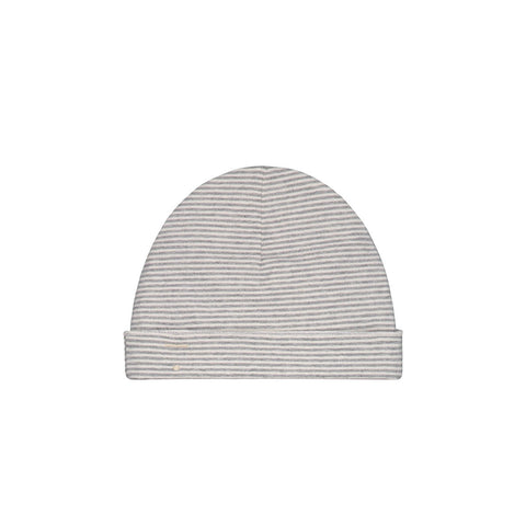 Stripe Baby Beanie in Grey Melange by Gray Label - Junior Edition