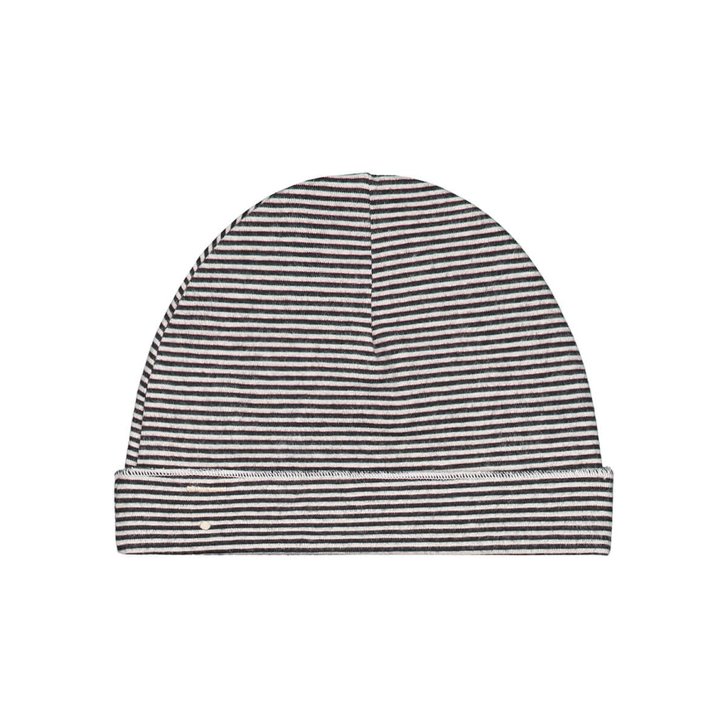 Stripe Baby Beanie in Nearly Black by Gray Label - Junior Edition