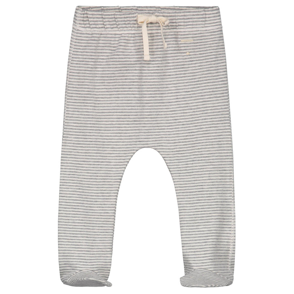 Striped Baby Footies in Grey Melange by Gray Label - Junior Edition