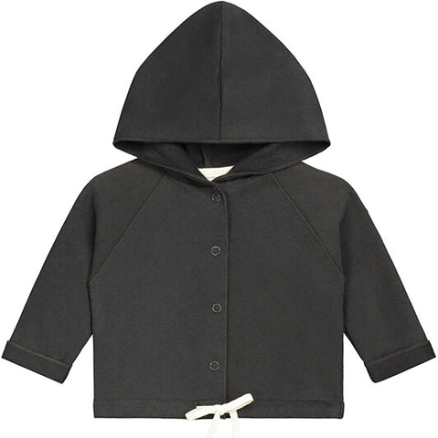 Baby Hooded Cardigan in Nearly Black by Gray Label - Junior Edition
