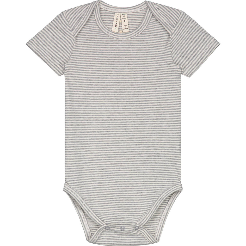 Striped Baby Bodysuit in Grey Melange by Gray Label - Junior Edition